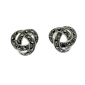 Celtic-Knot-Marcasite-Earrings-Sterling-Silver-Studs-Solid-Silver
