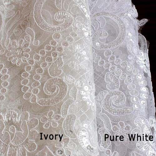 1 Yard Stickerei Pailletten Spitzenborten Für Brautschleier Kleid 24.5cm Breite