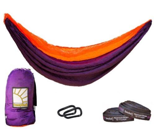 SunnySack Lightweight DOUBLE HAMMOCK HeavyDuty Parachute NYLON Tree Strap PURPLE