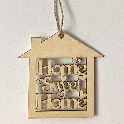 CN/_ 10PCS WOODEN SWEET MINI HOME HOLLOW HOUSE SHAPE WALL HANGING DECORATION CL