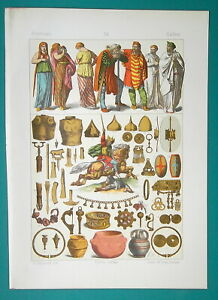 COSTUME-of-Ancient-Gauls-Horseman-Arms-Jewelry-1883-Color-Litho-Print