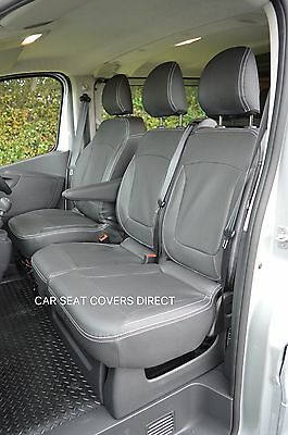 DOUBLE VAUXHALL VIVARO SPORTIVE DELUXE BLACK//RED VAN SEAT COVERS SINGLE