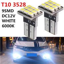 2x T10 W5W 3528 SMD 9 LED Bombilla Coche License Plate Light Tail Luz Blanco 12V