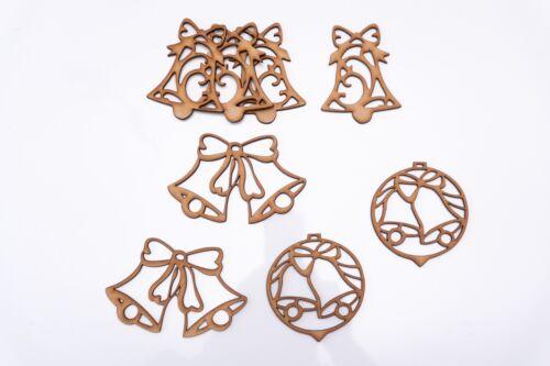 8 items set Christmas Tree Bells Christmas Decor Wooden MDF Shape 90 mm