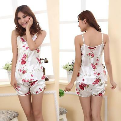 NEW SEXY WHITE PINK FLORAL SOFT SILKY SATIN TOP & SHORTS PYJAMA SET - SIZE 8/10