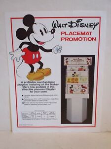 Disney Merchandise Wholesale Dealer S Ad Page Sell Sheet For 1980 S Placemats Ebay
