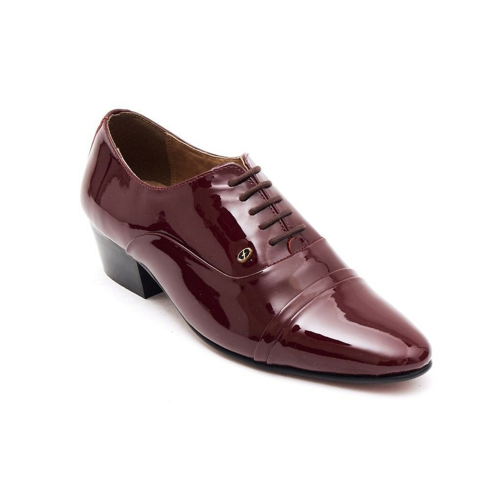 Lucini Mens Formal Cuban Heels Leather Lace Up Wedding Shoes Bordo Patent