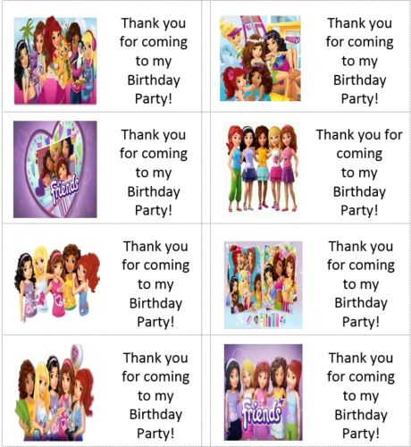 40 x Personalised Lego Friends labels//stickers//birthday//party//sweets//bag