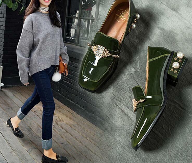 Womens Square Toe Block Pearl Low Heels Pumps Patent Leather Casual shoes 2019