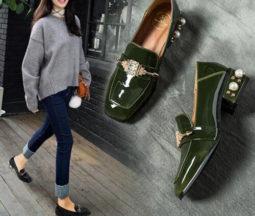 Femmes Plates Aiguille Talon Hauts Pompes Chaussures Verni New Cuir Pour Y1 En Talons aE0BaHx