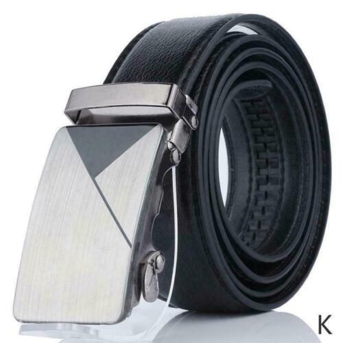Mens Black Leather Ratchet Belt Automatic Buckle Waistband Silver Waist E5X2