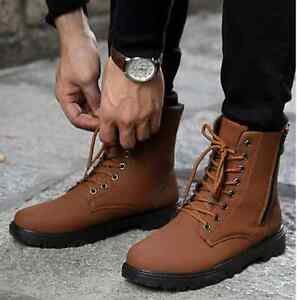 Stylish Mens Casual High Top Lace Up Short Army Ankle