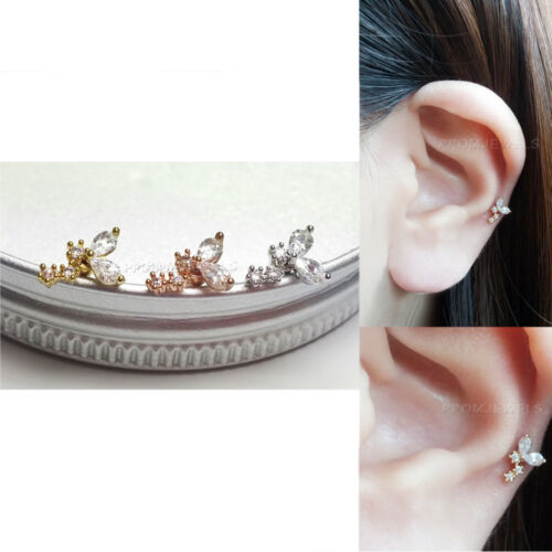 16 G Zircone Cubique Cristal Stud Barbell Bar Boucles d/'oreilles Fashion Body Helix Tragus Piercing Oreille