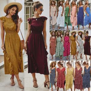 Womens-Printing-Holiday-Sleeveless-Ladies-Maxi-Long-Summer-Print-Beach-Dress-NEW