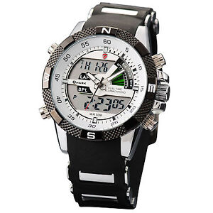 SHARK MENS LCD DIGITAL CHRONOGRAPH DATE ALARM RUBBER SPORT QUARTZ WRIST WATCH
