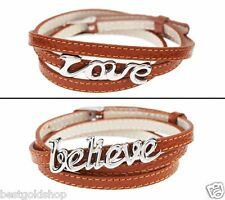 QVC LOVE Triple Wrap Bracelet with Adjustable Camel Leather Stainless Steel