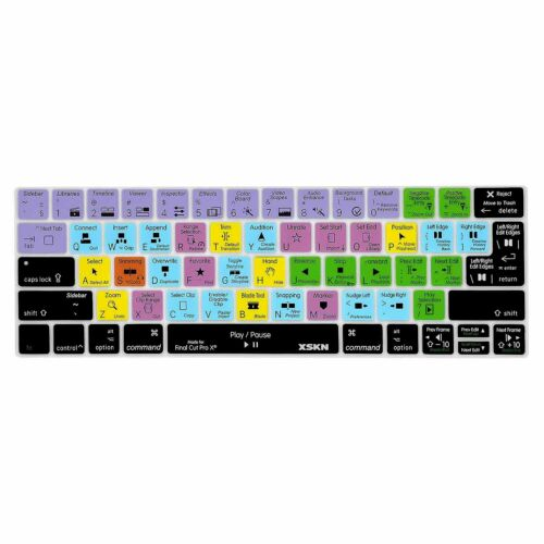 XSKN Final Cut Pro X Shortcut Keyboard Cover for Touch Bar MacBook Pro 13.3//15.4