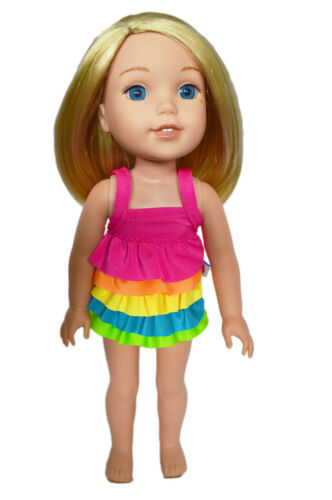 Rainbow Swimsuit for Wellie Wisher Dolls 14.5 Inch Doll Clothes