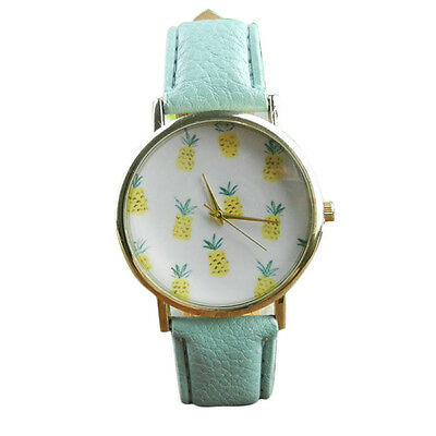 Fashion Womens Watch Pineapple Pattern Leather Analog Quartz Vogue Wrist Watch