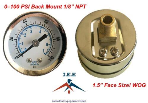 "Air Compressor Pressure//Hydraulic Gauge 1.5/"" Face Back Mount 1//8/"" NPT 0-100 PSI"