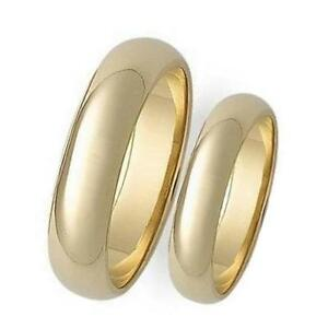 2 Piece His Amp Hers Plain 5mm Domed 14K Gold Overlay Wedding Band Ring Set