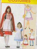 Pattern Adult S-xl Or Girls 3-8 Red Riding Hood Dress Alice Wonderland Storybook