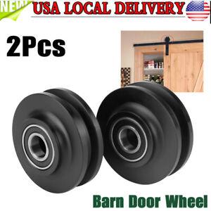 2Pcs-Sliding-Barn-Door-Wheel-Hardware-Extra-Rollers-Black-Rustic-Door-Roller-Kit