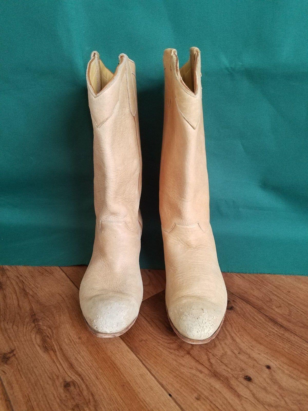 Women's 9.5B Ammons Beige Beige Beige Leather Cowboy Boots Western. HEAVY WORN 974137