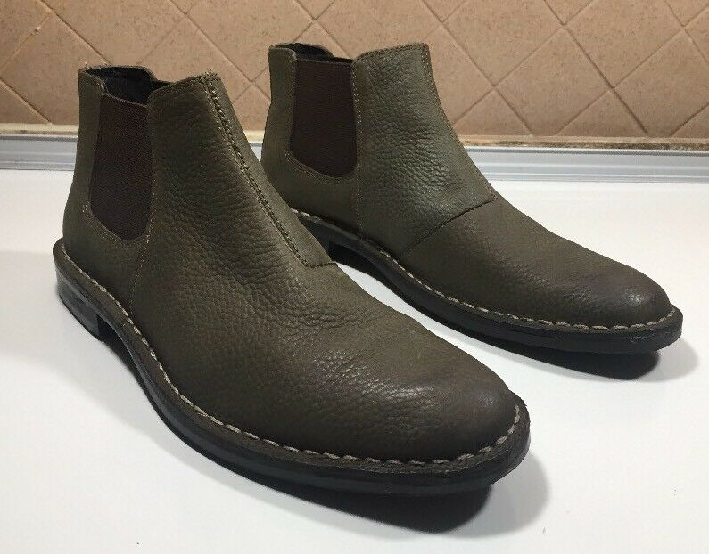 164-Aston Green Olive Leather Pull On Ankle Boots Men Sz US 9