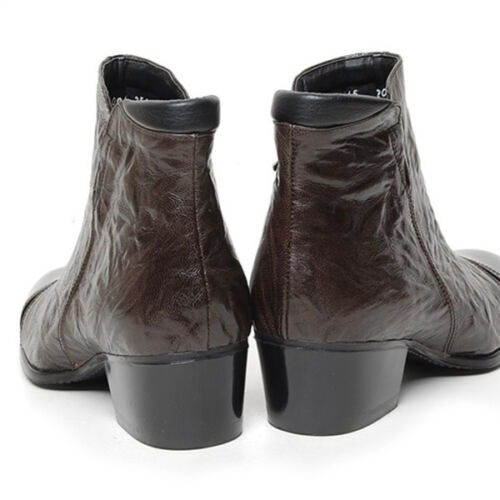"""Men/'s brown leather cap toe cut out two tone side zip 1.97/"""" heels ankle boots"""