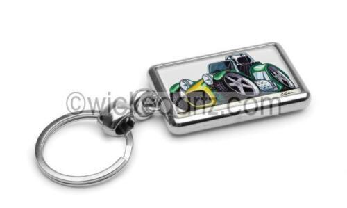 RetroArtz Cartoon Lotus Caterham Westfield Green//Yellow Premium Metal Key Ring