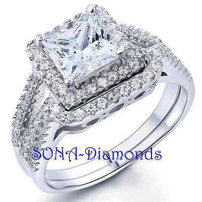 Princess Cut Wedding Band Man Made SONA NSCD Diamonds SILVER 925 Engagement Ring