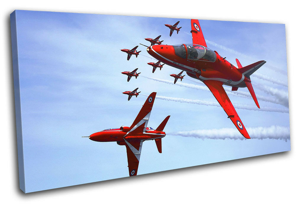 RAF Planes rouge Arrows Transportation SINGLE TOILE murale ART Photo Print