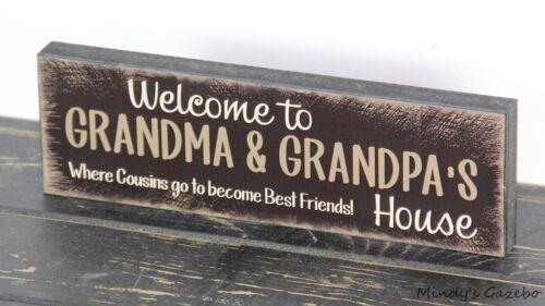 Handmade Primitive Country Block Wood sign GRANDPARENT GIFT Grandma Grandpa