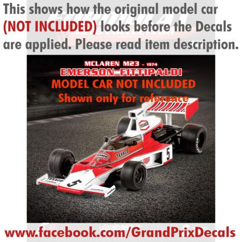 Formula 1 Auto Collection DECALS Marlboro McLaren M23 1974 Emerson Fittipaldi