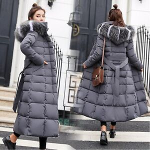 089af443f Details about Womens Down Jacket Winter Hooded Long Fur Collar Thicken Coat  Parka Warm Outwear
