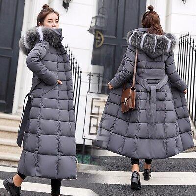 HOT SALE Womens Winter Slim Long Fur Down Jacket Coat Parka with Hood /& Belt