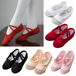 Girls-Canvas-Ballet-Dance-Shoes-Fitness-Gymnastics-Slippers-Dancing-ShoesD