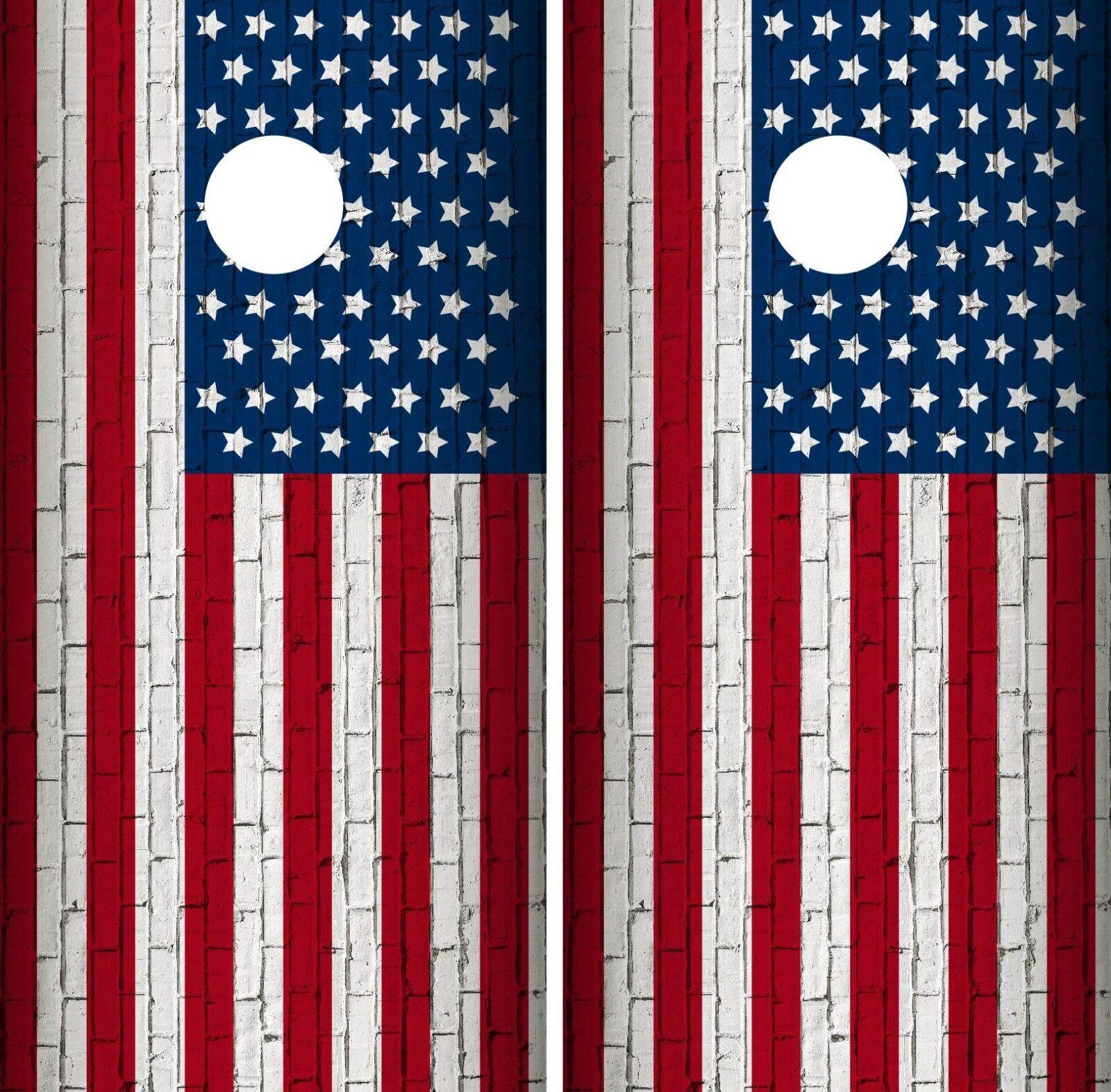 American Flag Cornhole Wrap  Game Board Skin Set Vinyl Decal Art Decor CO547  discount sales