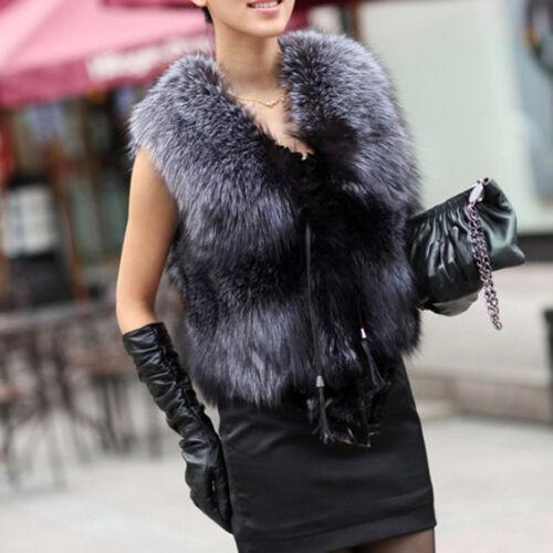 New Real Silver Fox Fur Vest Fashion Women Top Waistcoat Warm Winter Girl Gilet