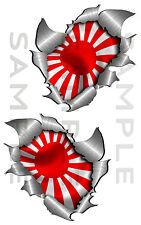 Pair Metal Rip Open Torn Japanese Flag Car Sticker Bike Van Truck Tool Box