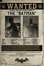 BATMAN ARKHAM ORIGINS ~ WANTED POSTER 24x36 Video Game Gotham Police Vigilante