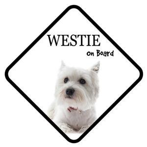 Westie Hund On Board Auto Schild mit Saugnapf Sticker Aufkleber
