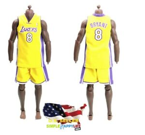 Details about 1/6 scale Kobe Lakers YELLOW Jersey #8 for hot toys Phicen Enterbay Body ❶USA❶