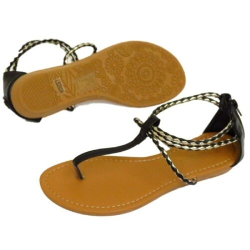New Ladies Black or White Toe Post Strappy Gladiator Wedge Summer Zip Sandals