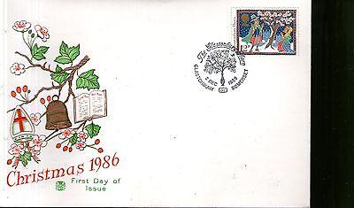 Gewetensvol First Day Cover - 1986 Christmas - Unaddressed - Glastonbury Laat Onze Grondstoffen Naar De Wereld Gaan