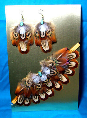 Feathered Earrings & Choker Necklace Set Pheasant Feathers & Turquoise FNE03