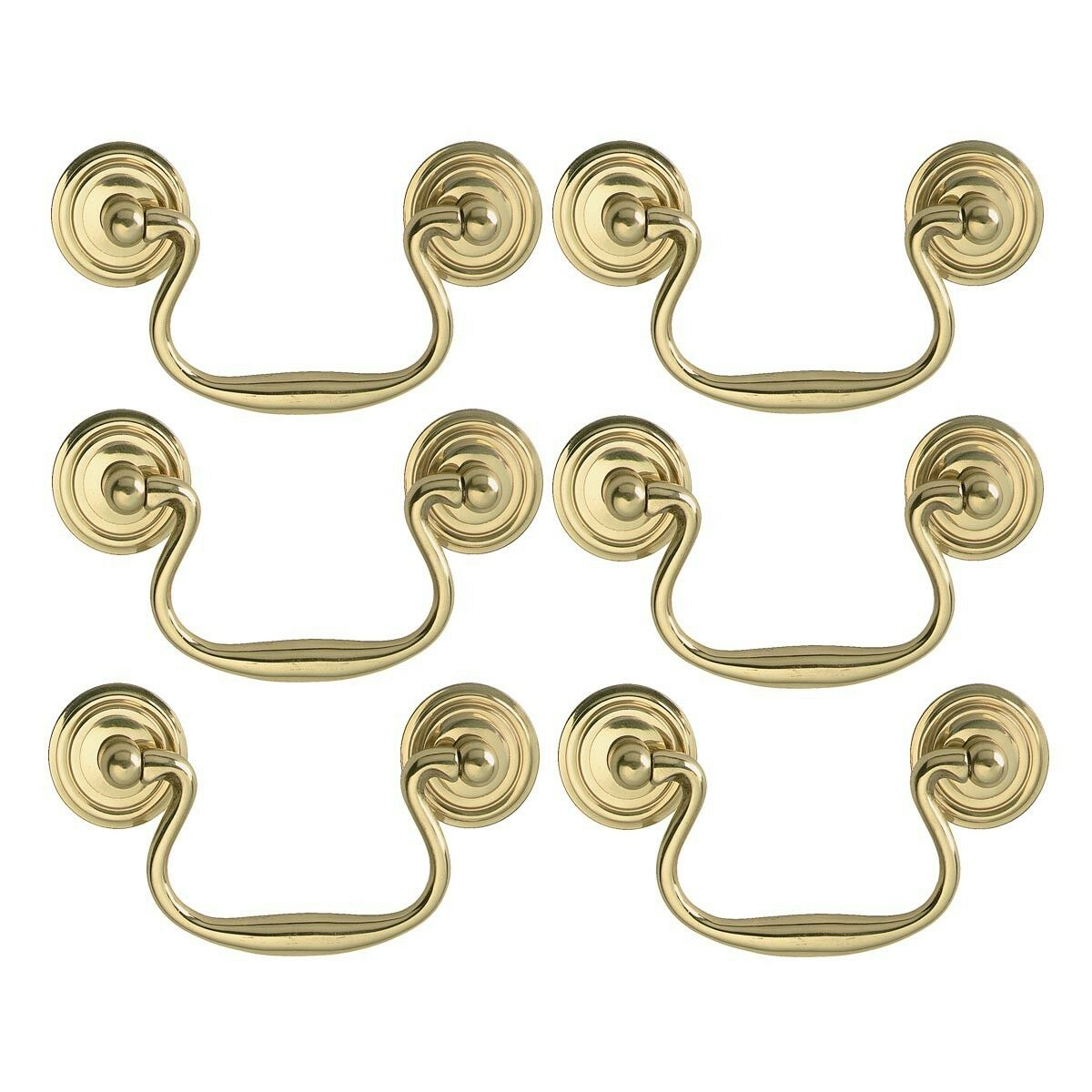 6 Solid Brass Bail Pulls Classic Ring pinkttes 3    Renovator's Supply