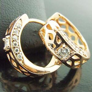FS371-GENUINE-18K-ROSE-G-F-GOLD-SOLID-DIAMOND-SIMULATED-HUGGIE-HOOP-EARRINGS