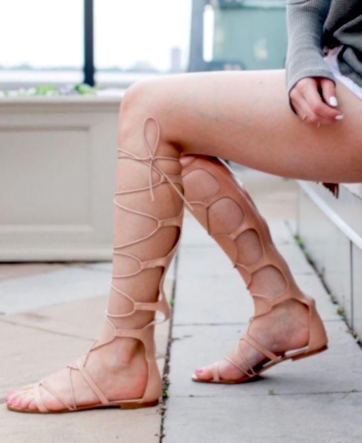 ZARA ZARA ZARA TAN GENUINE LEATHER HIGH LEG LACE UP SANDALS FLAT Schuhe Stiefel all Größes 13f37f
